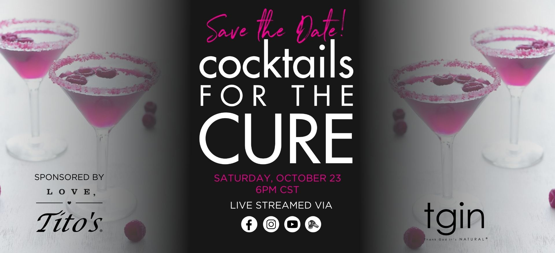 cocktails for the cure awareness October sale Chris-tia donaldson tgin thank god its natural